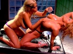 Amazing big tit lesbian blondes lick and finger their hot bodies