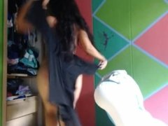 funny and sexy girl dancing and touching herlself