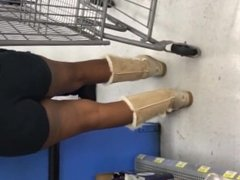 Ebony Booty Cheeks in Hotpants and Ugg Boots