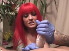 Red Haired Handjob With Blue Gloves