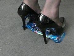 toy car crush, sexy mature school teacher in stiletto heels