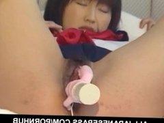Schoolgirl Yoshizawa Yoshino gets her hairy pussy dildoded hard