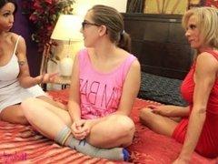 Lesbian MILFs Fuck Straight Girl For Babysitting Job