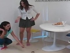 2 Sexy Girls crush crawdads on Sexy Flip Flops