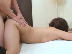 Cute Japanese MILF Rika Okabe gets her hairy pussy drilled