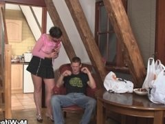 Horny girlfriends mom seduces son inlaw