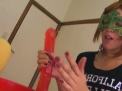 Argentinian fuckslut gags herself with a dildo