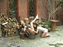 Lesbian babes tribbing in wet panties Cutting wood and slurping pussy