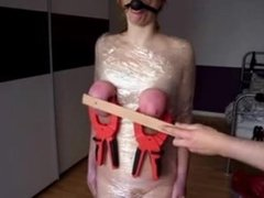 Slaves tits beaten with clamps on MD