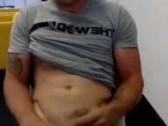 hot guy jerking off at work