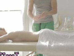 Mature couple use teen Mirta gets a voluptuous massage