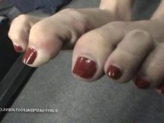 Business girl stinky foot show high heel pedal