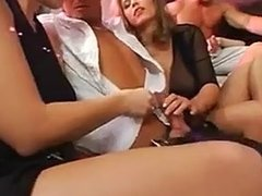 Cumshots Big Boobs Catwalk turns into an Orgy