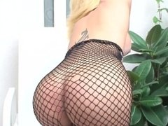 Amazing shemale Renata Davilla jerks off in fishnet bodysuit
