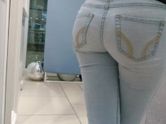 Candid teen ass in tight jeans