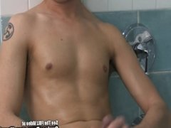 Jacking Off In Shower With Tiny Twink and Dildo
