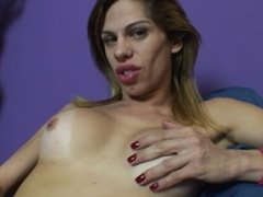 Cute blonde shemale Bia Bastos jerks off for the camera