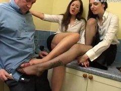 British Girls double stocking job