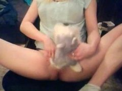 Girl humps her stuffed toy and marks it