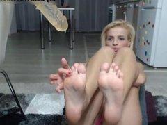 Big tits blonde show feet on webcam