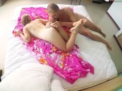 sexy russian teen in bed with bf play with big beautiful ass of blonde girl
