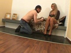 Cruel Babez The slave on a leash cleans pins licks feet and massaging