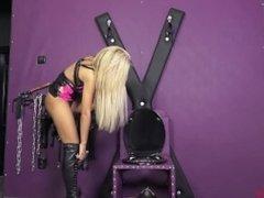 toilet teasing blonde Mistress