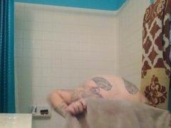 Hairy redhead bush with big tits hidden cam bathroom shower