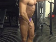 Muscle Daddy Posing in Skimpy Trunks