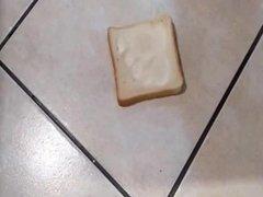 Blue opaque pantyhose bread crush