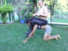 Domme punishes slave ponygirl 4