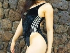 Beautiful asain girl onepeice swimsuit review 4