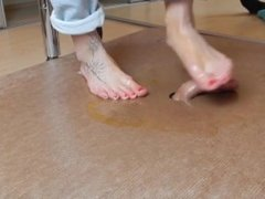 Cock kicking, cockcrush and footjob with oily feet and cumshot