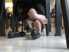 Asian Business Lady Hot Dipping With Ballet Flats