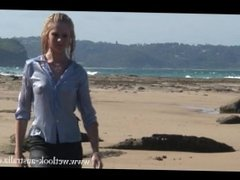 Wetlook - Girl getting wet in a skirt and a transparent blouse
