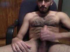 hot hairy mexican blowing his load on his chest