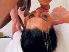 Big tit milf gets face fucked by two huge dicks