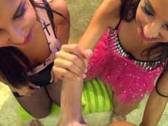 Spizoo - Trinity St Claire and Giselle Leon teen mouths to drain your Balls