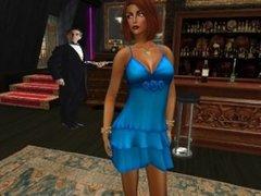 Une jolie femme virtuelle en mini robe bleu sexy au Richelieu