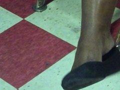 Ebony shoeplay tease