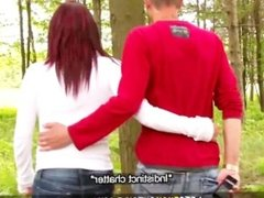 Let's Fuck Outside - Horny Redhead Blows Boyfriend in the Woods