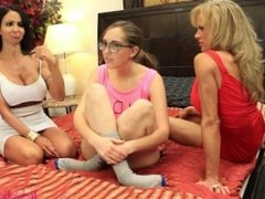Lesbian MILFS Fuck Straight Babysitter During Job Interview