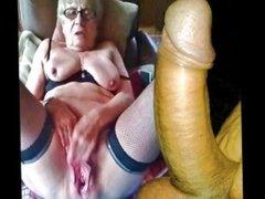 Old granny masturbating in car