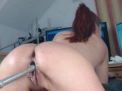 Red Head Teen MACHINE FUCKS Her Pussy & SQUIRTS on mfc