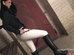 Slave licking boots of the your Goddess of black leggings shiny 3