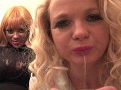 Mistress Ava Black & friend spit humiliation