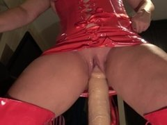 close up!! big dildo in wet and juicy pussy