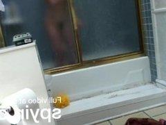 Hairy teen showering for hidden camera