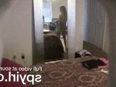 Blonde teen changing in the bedroom for hidden cam
