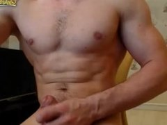 Horny Muscle Man Jerks Off Onto His Hairy Chest